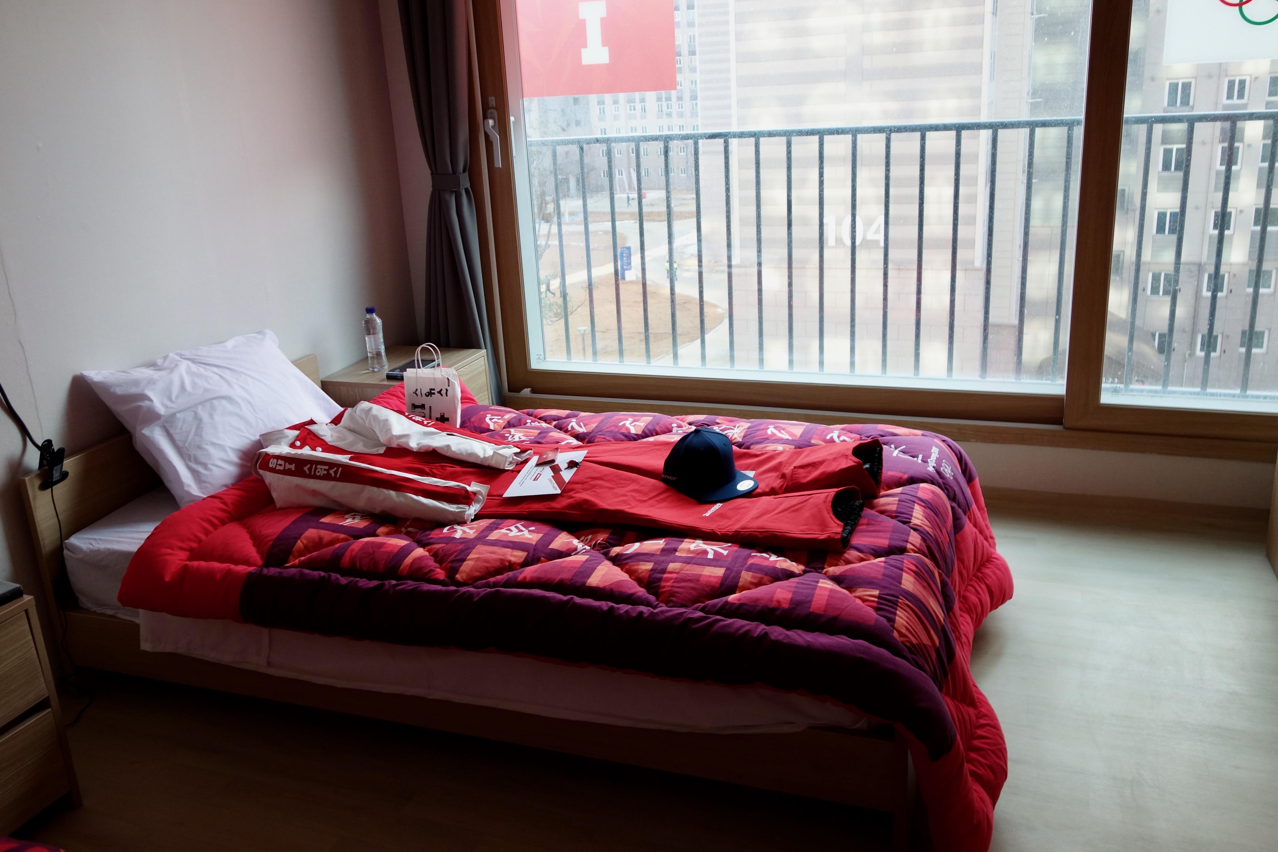 Les lits des athlètes suisses ont été préparés.