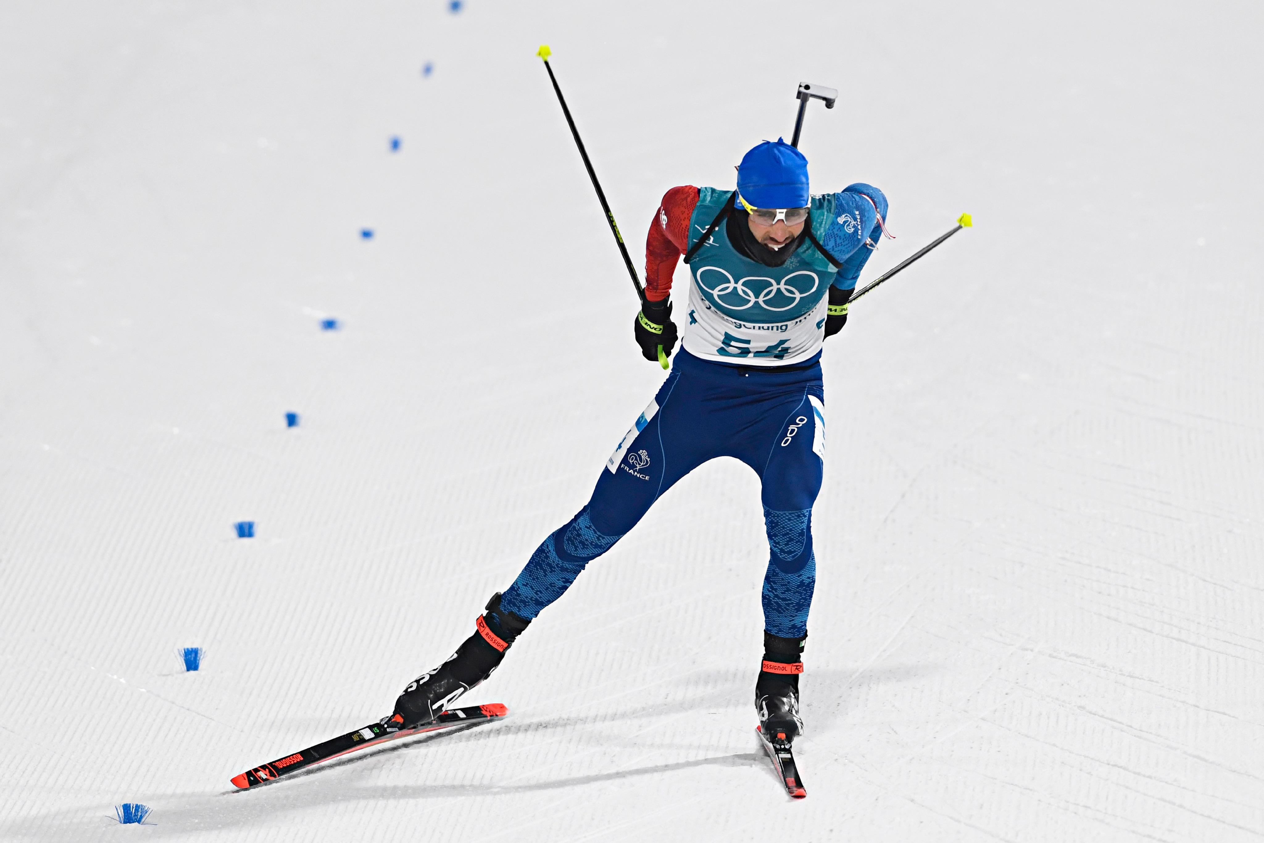 Martin Fourcade, lors du sprint.