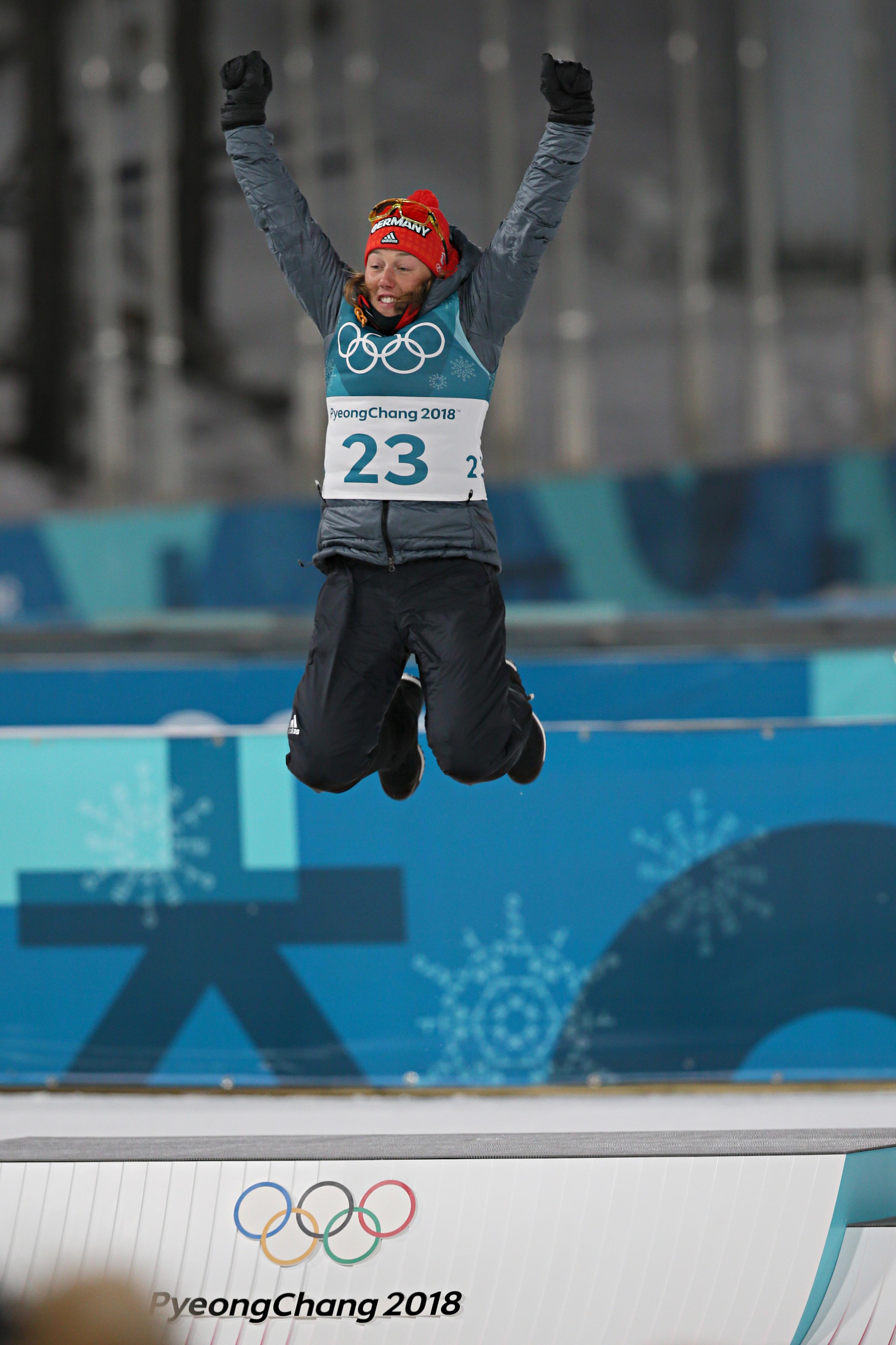 Laura Dahlmeier, qui s'est imposée lors du sprint en biathlon.