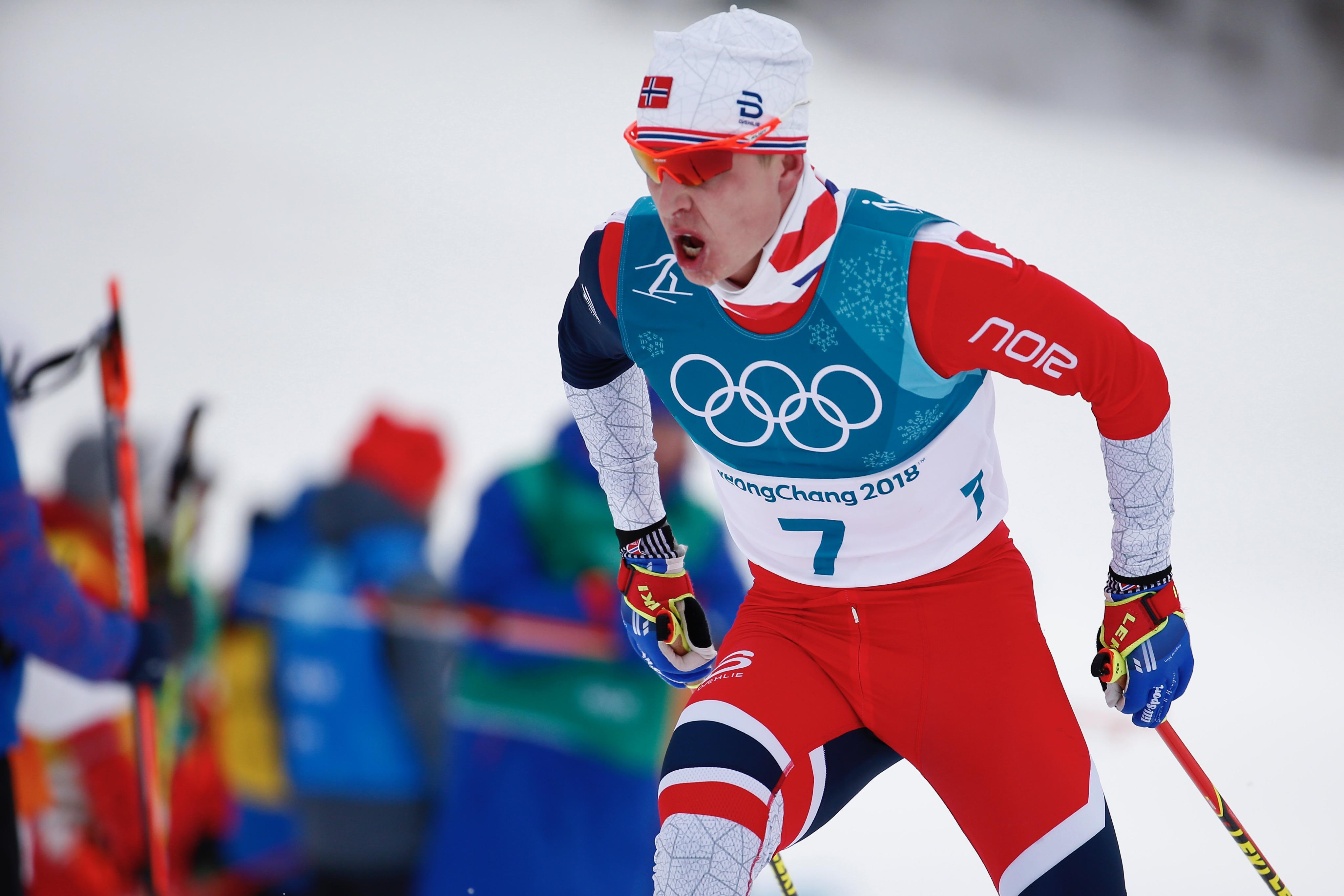 Simen Hegstad Krüger, impérial lors du skiathlon.