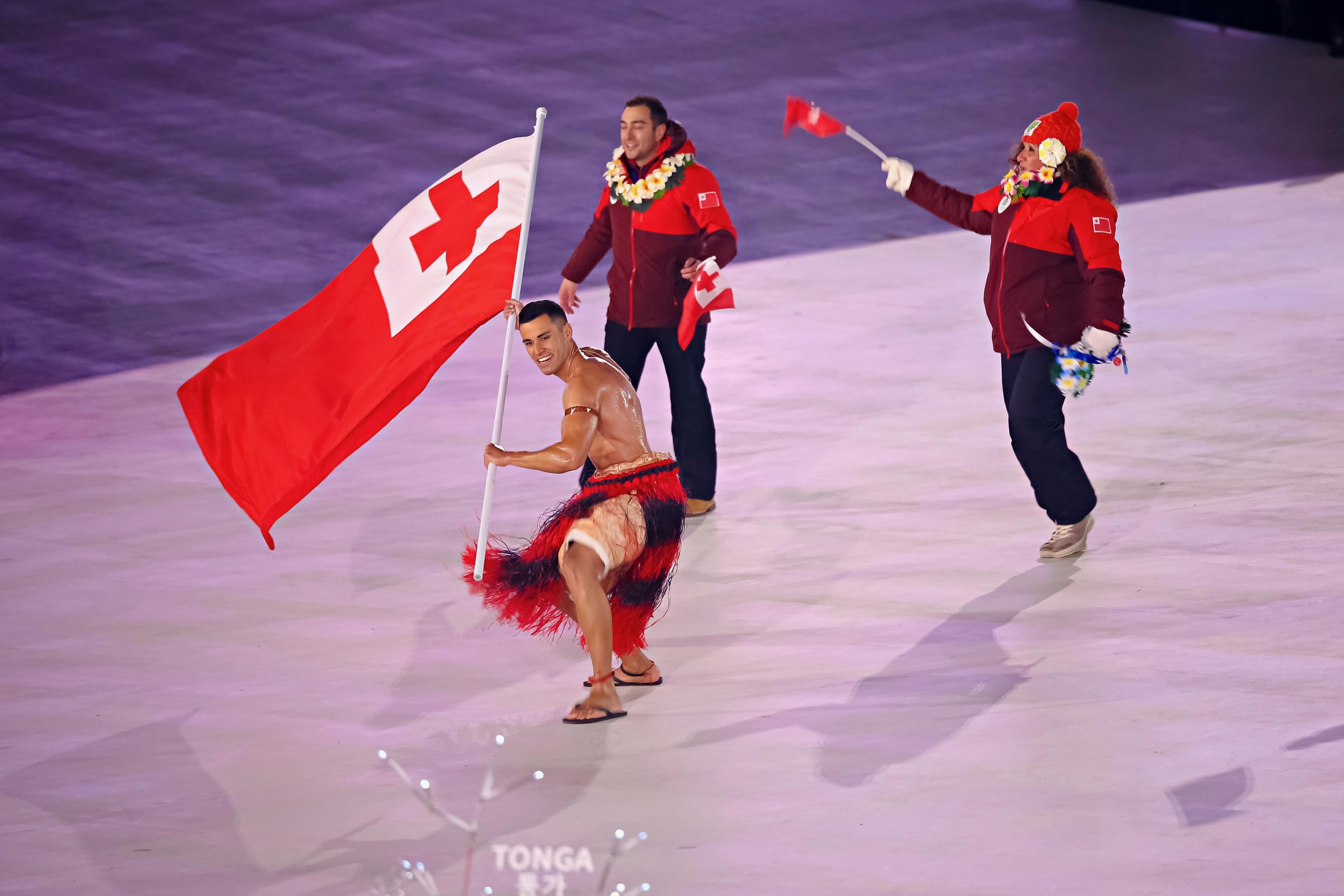 Le Tongien lors de la cérémonie d'ouverture.