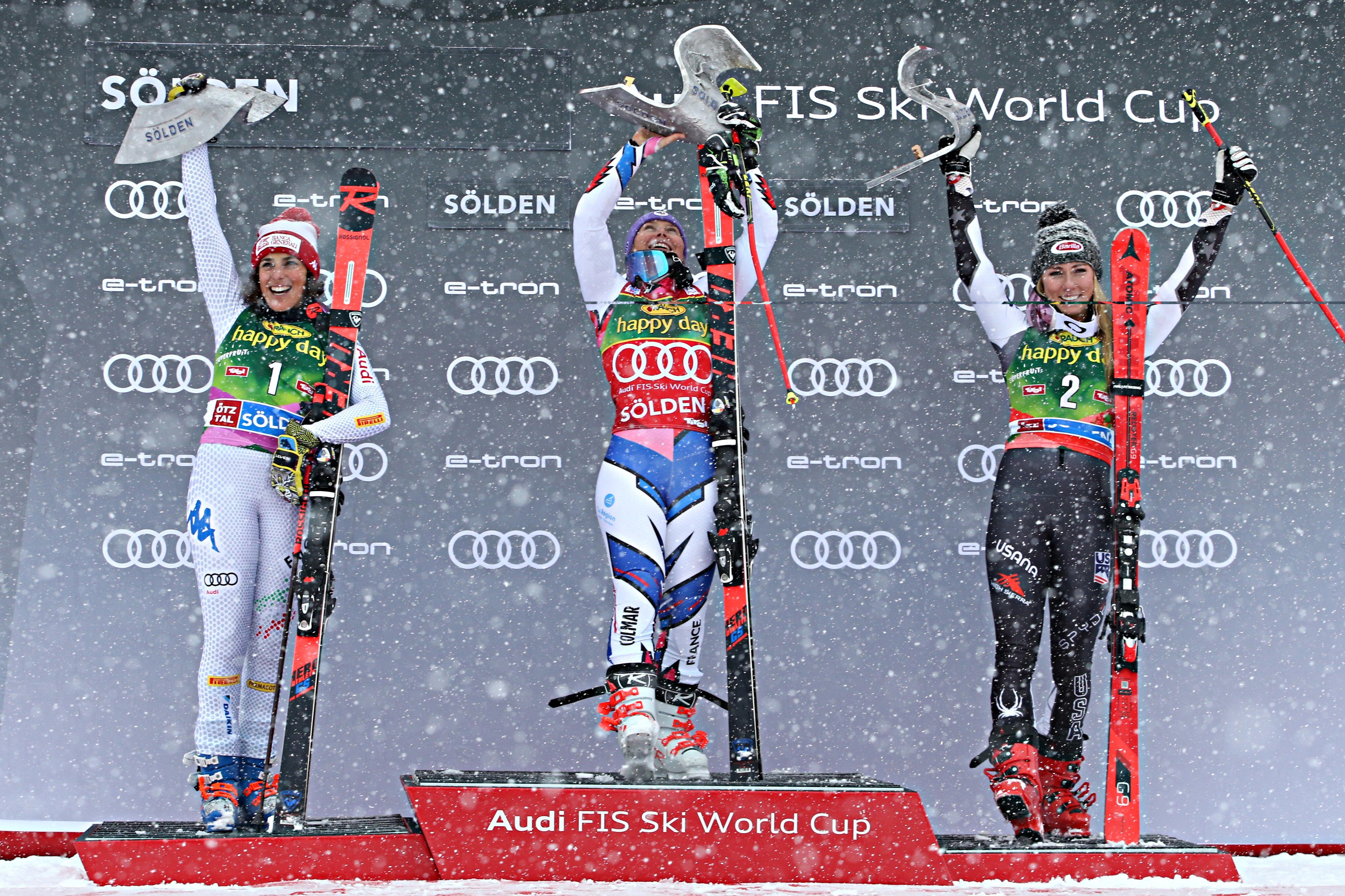Federica Brignone, Tessa Worley et Mikaela Shiffrin