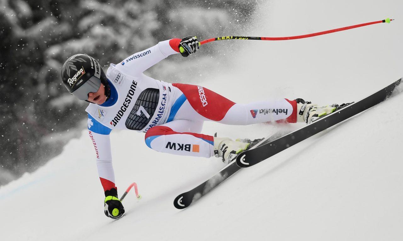 Lara Gut-Behrami sur le podium à Garmisch