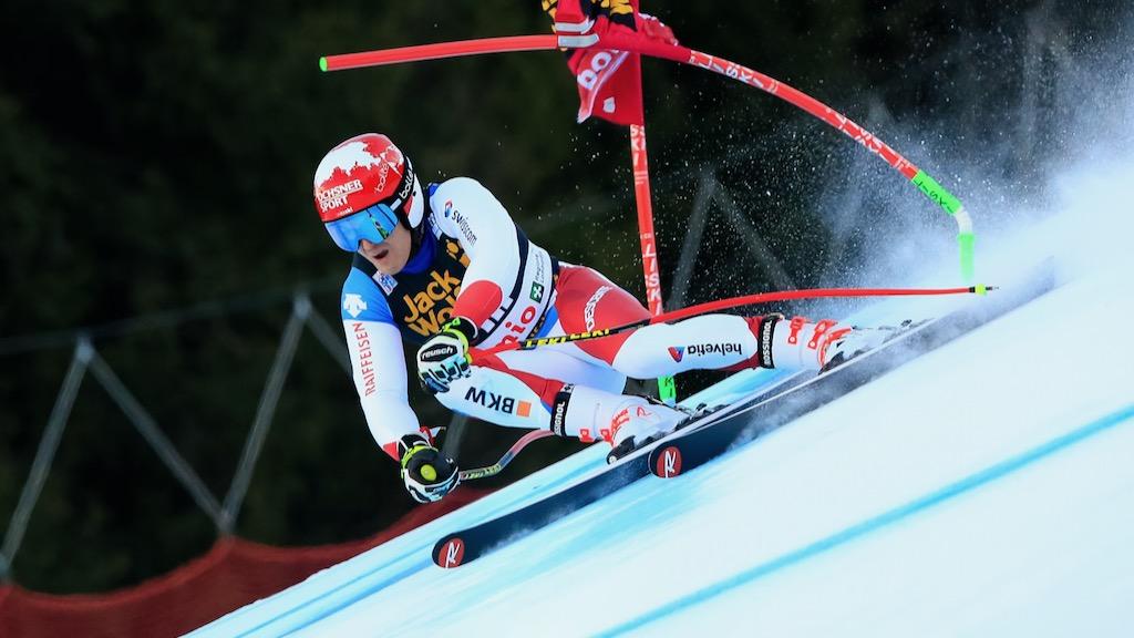 Loïc Meillard sur le podium du combiné de Bormio