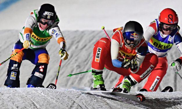 Fanny Smith et Alex Fiva sur le podium à Arosa