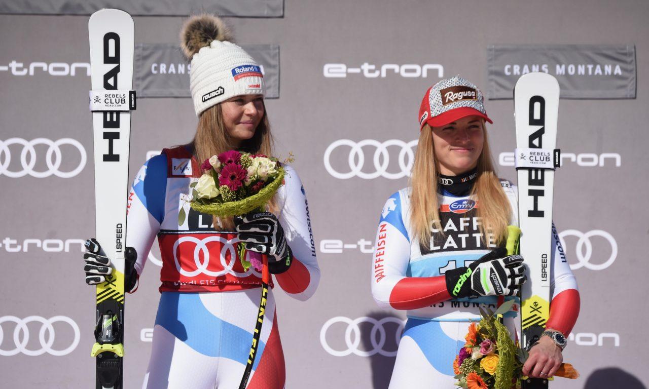 Lara Gut-Behrami et Corinne Suter en combiné à Cortina